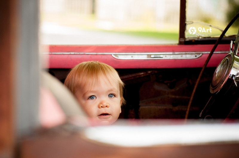 hunter: baby's 1st year #8 close up of baby in vintage car