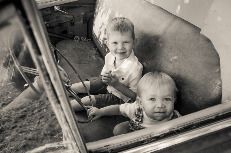 hunter: baby's 1st year #7 brothers in vintage car