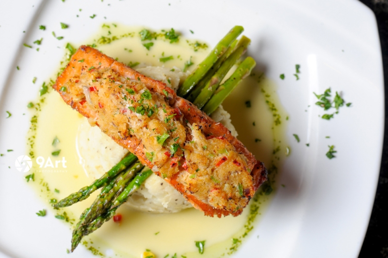 CVB food photography post: delicious fish & asparagus from joplin restaurant, 'Crabby's'