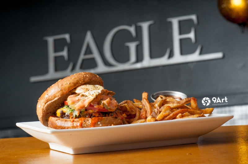CVB food photography post: the famed 'eagle burger' from joplin restaurant, 'the Eagle drive in'