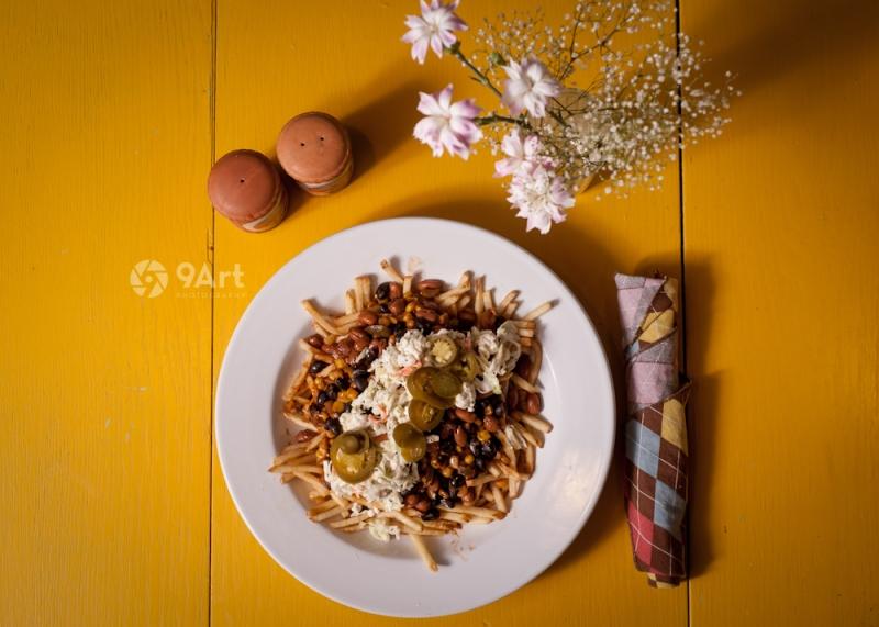 food photography post: vegetarian dinner from joplin restaurant 'instant karma'.