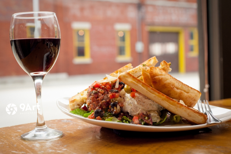 CVB food photography post:  wine and lunch from long standing joplin restaurant Red Onion