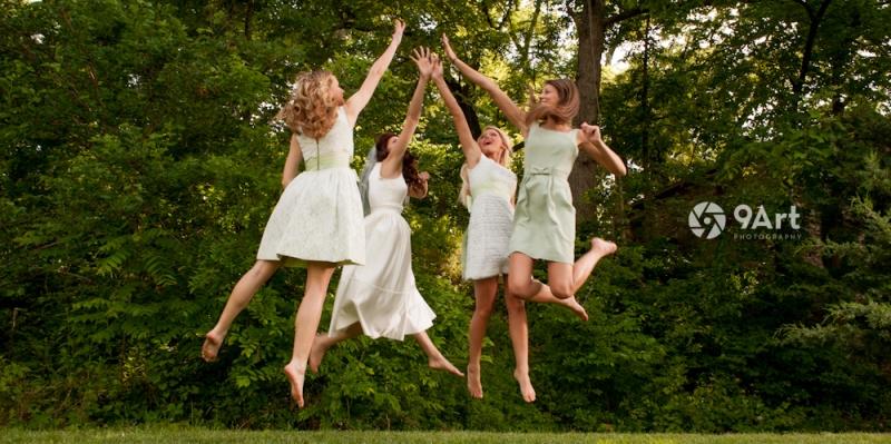 9art photography, joplin mo wedding photographer :: epic high five wedding party