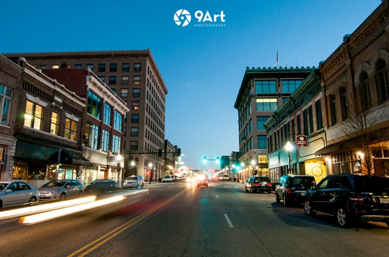 downtown joplin missouri at night, main street, by 9art photography
